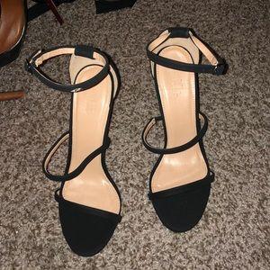 Black Suede Open Toed Heels! Never Worn! Size 9!